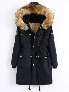 Patch Hooded Parka Coat - Black M