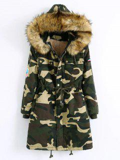 Hooded Patched Parka Coat - Camouflage Color M