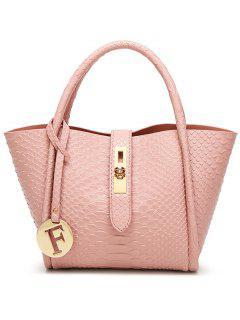Metal Pendant Crocodile Embossed Handbag - Pink