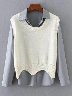 Scalloped Vest Sweater And Fitting Shirt - Off-white S