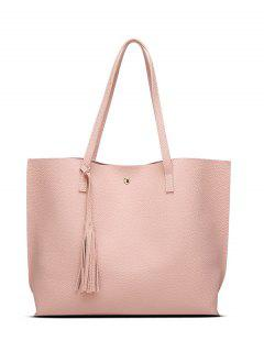 Textured PU Leather Tassel Shoulder Bag - Pink