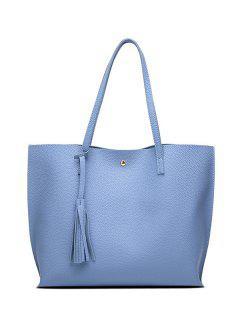 Textured PU Leather Tassel Shoulder Bag - Blue