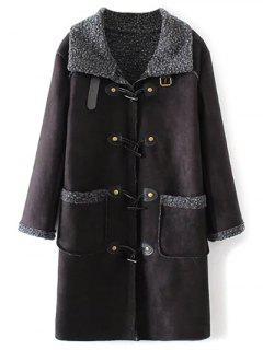 Manteau En Laine D'agneau Avec Des Poches  - Noir S