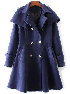 Manteau En Laine Avec Pan De Jupe Et Boutonnages Doubles - Bleu Foncé S