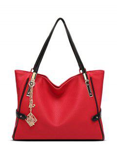 Chains Pendant PU Leather Shoulder Bag - Red