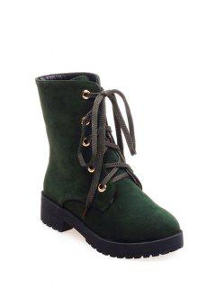 Dark Color Tie Up Platform Ankle Boots - Army Green 39