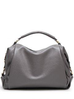Metallic Zips Textured Tote - Gray