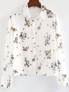 Cartoon Print Shirt - White S