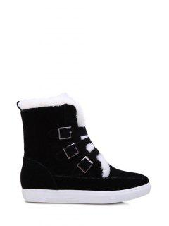 Buckles Faux Fur Flat Heel Short Boots - Black 39