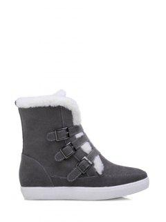 Buckles Faux Fur Flat Heel Short Boots - Gray 37
