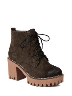 Tie Up Chunky Heel Zip Ankle Boots - Army Green 38