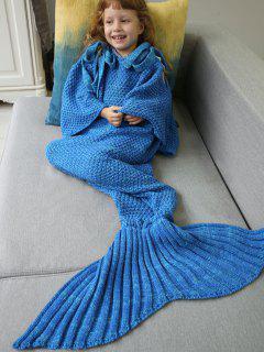 Sleeping Bag Knitted Mermaid Blanket - Blue
