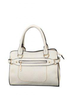 Stitching Zip Textured PU Leather Tote - White