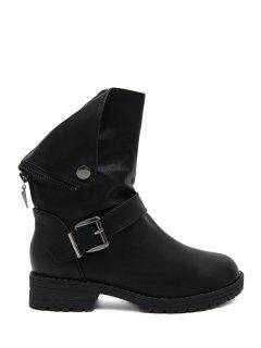 Belt Buckle Zipper Short Boots - Black 38
