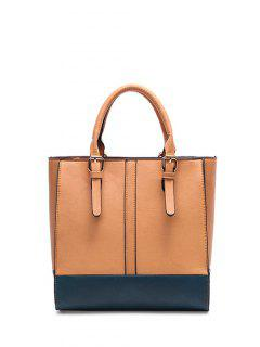 Color Block Buckle Straps Handbag - Light Brown