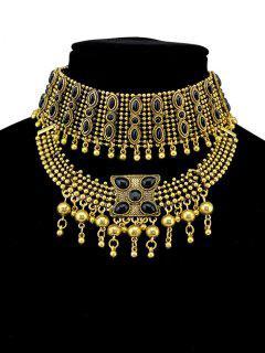 Faux Gem Beads Tassel Necklace - Golden