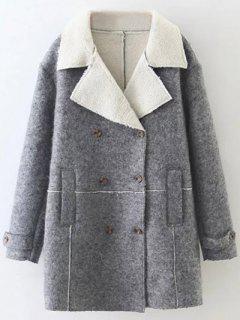 Faux Shearling Lapel Collar Pea Coat - Gray S