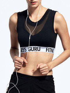 Letter Printed Sport Padded Bra - Black Xl