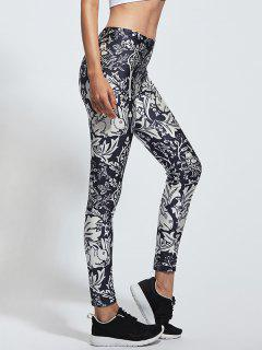 Skinny Floral Print High Waist Yoga Leggings - Xl