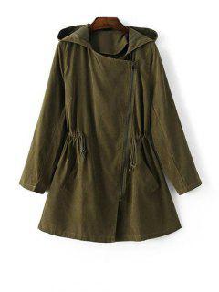 Hooded Suede Anorak Coat - Green S