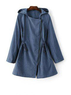 Hooded Suede Anorak Coat - Blue S