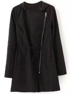 Drawstring Hooded Anorak Trench Coat - Black S