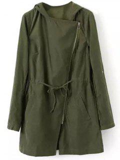 Drawstring Hooded Anorak Trench Coat - Green S