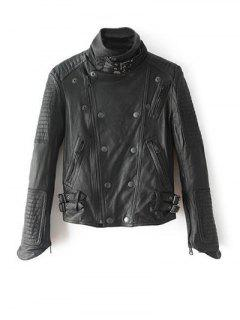 Stand Neck Zippered Biker Jacket - Black S