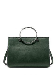 Metal Ring PU Leather Handbag - Green