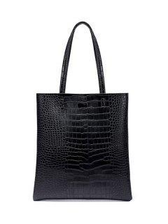 Casual Crocodile Embossed Shoulder Bag - Black