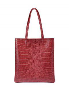 Casual Crocodile Embossed Shoulder Bag - Red
