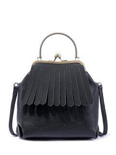 Vintage Metal Trimmed Fringe Bag - Black