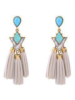 PU Leather Turquoise Geometric Tassel Earrings - White