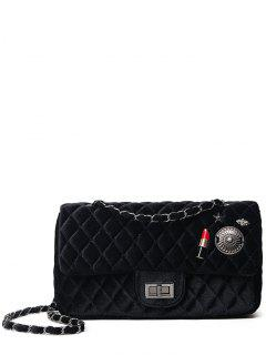 Argyle Pattern Metal Chain Shoulder Bag - Black