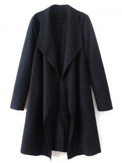 Turndown Collar Woolen Blend Coat - Cadetblue L
