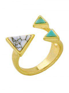 Artificial Turquoise Triangle Ring - Golden One-size