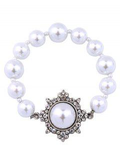 Artificial Pearl Vintage Beaded Bracelet - Silver
