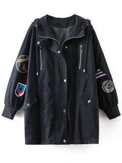 Sequins Hooded Patch Design Trench Coat - Black