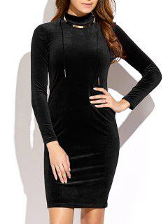 Mock Neck Velvet Mini Bodycon Dress - Black