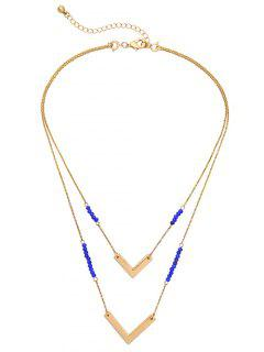 Layered V Shaped Beads Necklace - Golden
