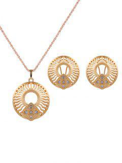 Rhinestone Cut Out Jewelry Set - Golden