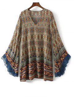 Bell Sleeve Lace Trim Boho Print Dress - S