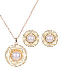 Round Beads Faux Pearl Jewelry Set - Golden