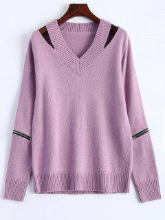 Pullover Zipper V Neck Sweater - Pink M