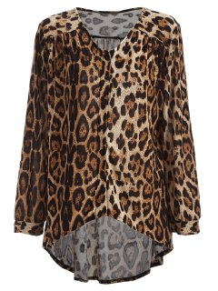 Leopard High-Low Blouse - Brown