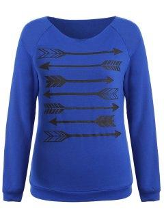 Arrow Pattern Raglan Sleeve Sweatshirt - Blue S