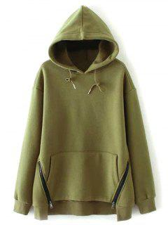String Zippered Hoodie - Army Green S