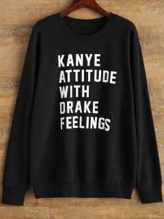 Graphic Crew Neck Streetwear Sweatshirt - Black M