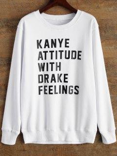 Graphic Crew Neck Streetwear Sweatshirt - White M