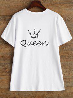 Jewel Neck Queen Crown T-Shirt - White S